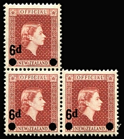 Lot 498 [2 of 3]:1954-63 Officials 2½d, 3/- in marginal strips of 3 and 6d on 1½d irregular block of 3. NZ Retail NZ$230. SG #0162,0167-68. (9)