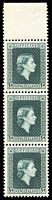 Lot 498 [3 of 3]:1954-63 Officials 2½d, 3/- in marginal strips of 3 and 6d on 1½d irregular block of 3. NZ Retail NZ$230. SG #0162,0167-68. (9)