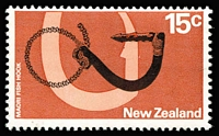Lot 499 [1 of 2]:1968 Army 4c vertical marginal pair wmk inverted, 1970 Pictorial 15c Maori Fish Hook, all wmk inverted. SG #884w,926w, Cat £69.