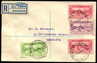 Lot 1472:1926 (Jan 14) Registered cover to Auckland with Dunedin Exhibition set (& extra 1d) tied by strikes of 'DUNEDIN EXHIBITION/14JA26 4/N.Z.' cds alongside Provisional label for Exhibition. No markings on reverse.