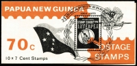 Lot 1380:1973 70c Interpex Booklet with 'INTERPEX' opt on cover. (New York edition - flag just touches stamp design) SG #SB5a, Cat £120.
