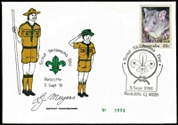 "Lot 314 [1 of 5]:1900s-2010s Accumulation incl 1919 cover to Thursday Island (b/s), few FDCs, 1981 Scout 'Skillorama' Day numbered cover with facsimile signature of District Commissioner [see Pictormark APM10080], several covers with instructional markings inc 1916 mss ""Posted in Drop Box In This Condition"" and re-sealed with stamp selvedge, 1959 'Officially Sealed' labels (3 on one registered cover from Brisbane to Sydney), 1923-24 Electoral envelopes (2), range of postmarks on piece, also 1980 Kingswood Philatelic Society booklets (3), Very mixed condition throughout. (Approx 200 items)"