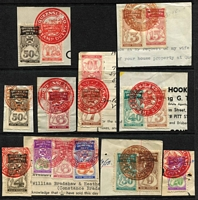 Lot 313 [3 of 3]:QV-QE Collection: with 'Impressed Duty' 1930-60 to £40, 1920 KGV to £20, numerous other 'Adhesive Duty', both £sd & decimal types in packets, many multiples. Mixed condition as is usual for these items. (100s)