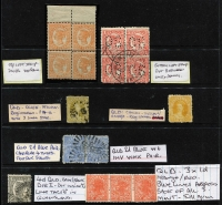 Lot 312 [1 of 5]:1860s-1960s selection incl 1860-61 'REGISTERED' (6d) olive-yellow, used, 1895 Reprint 'REGISTERED' (6d) orange-yellow MLH, plus several values in blocks or strips with minor plate varieties also Revenue Stamps 1895 Impressed Duty various to 20/- (3), 30/-, 40/- (2), £3, £5, 1930-60 Numeral Design £4, 50/-, £30 (2), 1918 Adhesive Duty various to 5/- etc. Generally fine. (78)