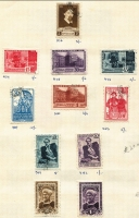 Lot 404 [2 of 4]:1880s-1940s Accumulation with strength in 1930s-40s commems, some on approval pages (priced in £.s.d.!!!) incl 1938 Crimea Views (12), Aviation (9), 1941 Lermontov (2 sets), Mobilisation 30k P12½x12 (2), National Defence 30k (3), Surikov (5),1942 Mir Ali Shir (2), etc. Cat approx £1,000+. Generally fine. (Few 100)
