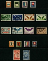 Lot 498 [3 of 5]:1860s-1960 Collection on 30+ Hagners with range of Seated & Standing Helvetias, Tell's Son issues, 1919-20 Air opts (2, both with bogus opts), 1924-40 Shields (4), 1945 Peace 2f, 3f, numerous National Fêtes, Pro Juventute issues, range of Postage Dues, etc. Very high catalogue value. Mixed condition. (100s)