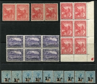 Lot 318 [2 of 2]:1850s-1909 Accumulation incl few Chalons imperf & perf, 1871-78 9d (2, one with wmk inverted & reversed), 1891 2½d on 9d (2¼mm), 2½d on 9d (3½mm, 5), plus marginal block of 20 optd 'REPRINT', 1904 1½d on 5d (10, some with minor opt varieties), 1906-09 Wmk Crown over A 9d pair & few Pictorials ½d (2), 1d (corner block of 6), 2d (block of 6) and few used issues. (90+)