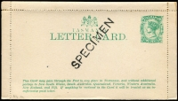 Lot 323 [1 of 7]:1880s-1906 Accumulation: incl Letter Cards 1898 2d green optd 'SPECIMEN', 1901 Views (7, with 5 different views incl 3 handstamped 'SPECIMEN'), 1902 2d with 'Mount Bischoff Mine...' Registered Envelopes incl 1884 4d HG #C2 & C2a, 1892 (no value) with 'De La Rue' under flap, few PTPO envelopes, Wrappers 1906 ½d & 1d cancelled 'HOBART/12.30.P.23.JA.06' or '12.30.P.31.JA.06', etc. Also 2 unused embossed Zeiher type PPCs of Tas. views. Mixed condition. (25 items)