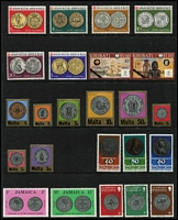 Lot 122 [3 of 4]:Selection On 26 Hagners incl Sport (76) with 1956 Olympics, Stamps on Stamps (220+ & 11 M/Ss/Sheetlets) or Coins on Stamps, (80+ & M/S), also Europa with Jersey 1982 Sheetlets (4) & Yugoslavia 1978 sheetlets (2). (100s)