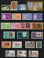 Lot 122 [1 of 4]:Selection On 26 Hagners incl Sport (76) with 1956 Olympics, Stamps on Stamps (220+ & 11 M/Ss/Sheetlets) or Coins on Stamps, (80+ & M/S), also Europa with Jersey 1982 Sheetlets (4) & Yugoslavia 1978 sheetlets (2). (100s)