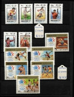 Lot 88 [3 of 3]:Olympics 1984: Los Angeles Collection in small 32 page KA-BE album with numerous countries represented with sets, M/Ss, sheetlets, also several issues for Sarajevo Winter Olympics. Retail stated to be A$230+. (115, 30 M/Ss/sheetlets)