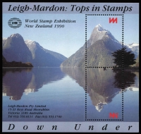Lot 100 [1 of 3]:Stamp Exhibitions New Zealand: 1977 Panpex 77 Souvenir numbered sheetlet (300++), 1990 Leigh Mardon perforated publicity M/S (no denomination) for 'London 1990' (450+). (750+)