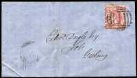"Lot 336 [2 of 7]:1851-1911 Cover Selection incl 1851 entire to Launceston (b/s) with 'SHIP LETTER/(Crown)/MELBOURNE' in red and MELBOURNE/(Crown)/PORT PHILLIP' in black, (stamps removed), 1855 Outer 'GEELONG' (b/s) to Melbourne (b/s) with Half Length 1d & 3d (faults) cancelled by Barred Oval '2/V', 1860 advertising env to Geelong, for 'FERGIE & HARSTON' Law & General Stationers, Melbourne, 1861 registered cover Echuca to Geelong with Melbourne & Geelong registered cancels, range of covers to ""Germaine Nicholson"" with variety of frankings, incl 4d Emblems, 1885 2d PTPO cover, 1893 'UP TRAIN' on 1d stationery card. Plus four 'Franks from 'Minister of Defence/Headquarters, Victorian Military Forces, Victoria Barracks, Melbourne', 'Post-Master General' & 'Minister of Railways (2 different). Very mixed condition throughout. (30+ items)"