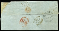 "Lot 336 [3 of 7]:1851-1911 Cover Selection incl 1851 entire to Launceston (b/s) with 'SHIP LETTER/(Crown)/MELBOURNE' in red and MELBOURNE/(Crown)/PORT PHILLIP' in black, (stamps removed), 1855 Outer 'GEELONG' (b/s) to Melbourne (b/s) with Half Length 1d & 3d (faults) cancelled by Barred Oval '2/V', 1860 advertising env to Geelong, for 'FERGIE & HARSTON' Law & General Stationers, Melbourne, 1861 registered cover Echuca to Geelong with Melbourne & Geelong registered cancels, range of covers to ""Germaine Nicholson"" with variety of frankings, incl 4d Emblems, 1885 2d PTPO cover, 1893 'UP TRAIN' on 1d stationery card. Plus four 'Franks from 'Minister of Defence/Headquarters, Victorian Military Forces, Victoria Barracks, Melbourne', 'Post-Master General' & 'Minister of Railways (2 different). Very mixed condition throughout. (30+ items)"