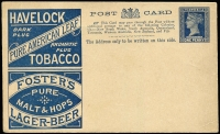 Lot 330 [1 of 8]:Collection: on 44 Hagners in album of Postal Cards (49) incl 1895 Havelock advert 1d, 1900 Commonwealth Commemorative cards (5), several cards with reply half attached & several CTO, & Official 1905 1d 'OS' cards (2), Letter Cards (17), incl 1901 'ONE PENNY' on 2d, Registered Letters (10, incl 2 CTO), Telegraph Forms 1873 1/- blue on cream, with '5000-12 | 73.' in top left corner. Most items are unused. Generally fine with the odd blemish here or there. (75+ items)