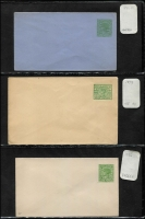 Lot 331 [3 of 4]:PTPO 1869-1901 Collection: of envelopes incl many different flaps, sizes, colours, 1885-86 2d violet optd 'SPECIMEN', 1892 'ONE PENNY' opt 'Specimen'. Many are very fresh. Generally fine. (42)