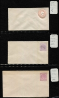 Lot 331 [1 of 4]:PTPO 1869-1901 Collection: of envelopes incl many different flaps, sizes, colours, 1885-86 2d violet optd 'SPECIMEN', 1892 'ONE PENNY' opt 'Specimen'. Many are very fresh. Generally fine. (42)