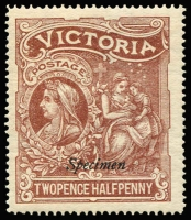 Lot 1103 [2 of 2]:1897 Hospital Charity Fund pair optd 'Specimen' (1d in red, 2½d in black). SG #353s-54s, Cat £200. (2)