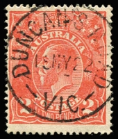 Lot 1311:Duncan's Road: 'DUNCAN'S ROAD/15MY22/VIC' on 2d red KGV  RO 15/5/1916; PO 19/7/1920; renamed Werribee South PO 19/7/1926.
