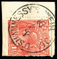 Lot 1150:O'Shannessy's Weir: on KGV 1½d tied to '-5SP25' piece.