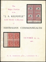 Lot 137:Australia: The JA Kilfoyle 'Gold Medal Collection' of Australian Commonwealth H.R. Harmer, London 1961 (Oct 16-17), 52pp incl bl & wh photo plates.