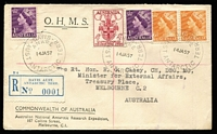 Lot 433:1957 (14 Jan) registered OHMS/ANARE cover from Davis Base with 3 strikes of Davis Base cds (with reg label 'No. 0001') to Rt. Hon. R. Casey, Minister for External Affairs, Melbourne [later to become Lord Casey, Governor General, 1965-69.]