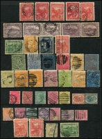 Lot 389 [2 of 2]:1850s-1912 Accumulation incl NSW 1860 Diadem 5d (2), Qld, SA, Tas few Chalons, Revenues, Victoria 1886-1900 Stamp Duty ½d pink with double perfs at top, 1912 'ONE PENNY on 2d corner block of four, one unit broken 'N' in 'PENNY', plus 1d to £2 range of used Statute issues, WA few Revenues. Some postmark interest. Mixed condition throughout. (Few 100)