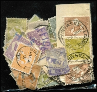 Lot 373 [1 of 4]:Accumulation from most States, many off piece, range of Kangaroos & KGV issues on or off piece many with Tasmanian postmarks. Well worth inspection. (100s)