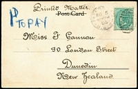 "Lot 349 [3 of 5]:1904-11 PPCs with Tax markings or Postage Dues incl NSW ½d on card to NZ with mss ""1d TO PAY"" in blue, 1905 PPCs (2) to USA, both with NSW & US markings and US 2c Dues, QLD 1911 card to Belgium with '10/CTMS/T' handstamp, S.Aust 1908 card (Mounted Police & Native Black Trackers, Far North, South Aust - with stamped removed from picture side) with 'T/20CTS' in circle obliterated, Vic 1904 card to GB with 'T/15c' in octagon alongside '2D/I.S./C.' handstamp. Generally fine. (6)"