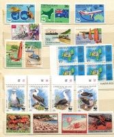 Lot 445 [3 of 3]:Accumulation incl Christmas Island 1987 Wildlife (17), 1990 Abbott's Booby (4), various Christmas issues & M/Ss, Cocos Islands 1985-86 Shells (16), 1988 Coconuts (4 & M/S), 1990 NZ '90 Flowers M/S, $5 Opt, 1990-91 (43c) on 10c, Norfolk Island 1980 Planes (16), 1984 Flowers (16), 1987-88 Scenes (16), 1990-91 Ships (12), 1992 WWF (strip of 4 & M/S), Coral Sea (5), etc, plus small array of FDCs. Many other commems. (100s)