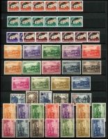 Lot 447 [1 of 3]:Stockbook with Nauru incl 1954 Picts (9, CTO), 1974 1st Contact (2 sets), 1978 Provisionals (4), range of commems, some in blocks, and Norfolk Island incl 1947 Ball Bay (2 sets of 12), 1959 3d & 2/- (2 sets, one MUH), 1970-71 Birds (15, CTO), 1973-75 Buildings (3 sets), 1974 UPU (4 and 2 M/Ss), 1997 $2 Booklet, some commems in blocks of 4. (100s)