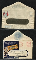 Lot 348 [2 of 5]:(54) of fronts (some with flap attached) incl 'Brooke's Lemos', 'Fowlers Vacola', 'Hoadley's Chocolates', 'Hutton's Hams', 'Kornies for Breakfast', 'Lanes Motors', 'Maxam Cheese', 'McClintock's Jellies', 'Texaco' (complete cover). Few KGV & KGVI PTPOs. Mostly earlier issues, few later. Very mixed condition. (60+ items)
