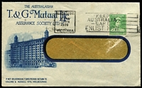 Lot 316 [2 of 7]:1937-51 Range incl 1937 'Superclean' Dry Cleaners cover, 1938 Clark & Fauset Ltd long cover with violet 'IN VOLUNTARY/LIQUIDATION' handstamp, 1939 Union Steamship commercial cover to Samoa, OHMS/Department of Patents Postcard, 'T&G Mutual Life' cover, 1948 League of Rights cover with advert for Eric D. Butler (a brilliant speaker)!!!!, few Shire covers, etc, also 1947 tinted PPC of Parliament House, Canberra with 'May Collingridge/Photo, Canberra' handstamp on reverse. Mixed condition. (24)