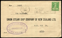 Lot 316 [3 of 7]:1937-51 Range incl 1937 'Superclean' Dry Cleaners cover, 1938 Clark & Fauset Ltd long cover with violet 'IN VOLUNTARY/LIQUIDATION' handstamp, 1939 Union Steamship commercial cover to Samoa, OHMS/Department of Patents Postcard, 'T&G Mutual Life' cover, 1948 League of Rights cover with advert for Eric D. Butler (a brilliant speaker)!!!!, few Shire covers, etc, also 1947 tinted PPC of Parliament House, Canberra with 'May Collingridge/Photo, Canberra' handstamp on reverse. Mixed condition. (24)
