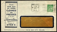 Lot 316 [1 of 7]:1937-51 Range incl 1937 'Superclean' Dry Cleaners cover, 1938 Clark & Fauset Ltd long cover with violet 'IN VOLUNTARY/LIQUIDATION' handstamp, 1939 Union Steamship commercial cover to Samoa, OHMS/Department of Patents Postcard, 'T&G Mutual Life' cover, 1948 League of Rights cover with advert for Eric D. Butler (a brilliant speaker)!!!!, few Shire covers, etc, also 1947 tinted PPC of Parliament House, Canberra with 'May Collingridge/Photo, Canberra' handstamp on reverse. Mixed condition. (24)