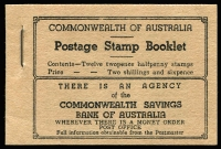 Lot 332:1942 KGVI 2/6d Booklet complete, BW #B53 (SG B28), Cat $150.