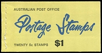 Lot 305:1967 $1 5c on 4c Red Queen Permanent cover 'Use Postal Orders For....', Edition G67/3 with wax interleaving (slight stitching separation), 1968-69 $1 Famous Australians (2) both Edition V68/3, 1969-70 $1 Prime Ministers (2) both Edition V69/3 1970-71 $1.20 Famous Australians Edition V71/1, 1972-73 $1.40 Prime Ministers Edition V71/3. (7)