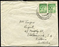 Lot 347 [1 of 5]:1934-59 Group incl 1934 6th Aust Philatelic Exhibition, 1938 Br. Empire Games (7th Jan-APM states ...earliest date seen so far is 14th Jan), 1952 Qld Industries Fair (2 covers, 10th & 15th May- APM mentions only 1949 & 1955 dates) latter with special Exhibition label, 1953 ICAO Conference (Regional Meeting cds), 1955 ANPEX covers (3, red cancels). Several commem covers incl 1953 Echuca slogans, etc. Mixed condition. (35)