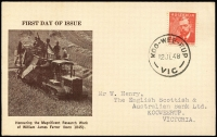 Lot 913:Bodin (Rex) 1948 2½d Farrer tied to black/brown card by 'KOO-WEE-RUP' cds, addressed. Scarce.