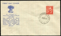 Lot 897:Woodger 1948 2½d Farrer tied to unaddressed FDC by superb strike of 'WOOMELANG/12JL48/VIC' FDI datestamp, unsealed flap.