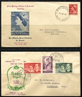 Lot 347 [1 of 2]:1937-70 Collection incl Turley & Mappin scarce 1954 Royal Visit, various others incl Brisbane Stamp Co, Guthrie, Miller Brothers, PMG generic red or beige & blue types, Royal, Wesley some with amended dates on cachets, also several other covers incl 1899 advertising 1d Postal Stat. envelope for 'Fresh Food & Frozen Storage Co', 1918 'POSTAGE PAID' cds on cover Newcstle to Ryde, 1951 UNCLAIMED/AT LAVERS HILL' handstamp (2 strikes), etc. Mixed condition. (170+)