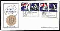 Lot 330 [3 of 5]:1980s-90s Accumulation in FDC album & loose incl 1970 Cook set (strip & 30c) on PO long type cover, several other Cook strips on FDCs, range of later issues with se-tenant strips, etc, few overseas incl GB 1988 Australian Bicentenary pairs with Wedgewood cancel on Arlington FDC. All unaddressed ex 1970 Cooks. (150+)