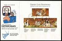 Lot 365 [1 of 3]:1982-88 Issues in FDC album almost complete with booklet issues, se-tenant strips, pairs, etc, all unaddressed and with 'BAIRNSDALE/VIC-AUST'cds, also several earlier covers incl 1970 Cook M/S (4). (110+)