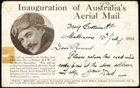 Lot 1043 [2 of 2]:1914 Melbourne-Sydney Guillaux PPC AAMC #3. with a photo of Maurice Guillaux on the reverse, franked 1d Roo tied by AUSTRALIAN/MELBOURNE/16-JL-1914/VIC/AERIAL MAIL oval datestamp in violet. Minor blemishes.