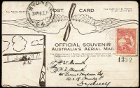 Lot 1043 [1 of 2]:1914 Melbourne-Sydney Guillaux PPC AAMC #3. with a photo of Maurice Guillaux on the reverse, franked 1d Roo tied by AUSTRALIAN/MELBOURNE/16-JL-1914/VIC/AERIAL MAIL oval datestamp in violet. Minor blemishes.