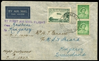 Lot 323 [1 of 7]:1937-39 First Flight selection incl 1937 (15 Jun) AAMC #739-41, 1938 (8 Jul) AAMC 817 (2 different), 1938 (29-30 Aug) Bowen as an intermediate AAMC #826d, (12 Sep) Brisbane-Gladstone AAMC #827, 1939 (9 Jan) Brisbane-Kingaroy Flight [This flight was postponed from 17 Oct 1938], AAMC #841, plus one cover fron the actual flight. (3 Apr) Brisbane-Innisfail AAMC #847. Some covers are signed by Pilots. Mixed condition. (12)
