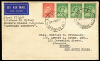 Lot 324 [1 of 2]:1937 (18 May) Brisbane-Sydney unofficial flight flown on Junkers Diesel VH-UYA 'Lawrence Hargrave', backstamped 'Newtown/19MY37/NSW'.
