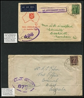 Lot 326 [3 of 5]:RAAF Censor Covers 1941-45 with range of oval Censors incl '208', 237', '408', '675', etc, from RAAF Bairnsdale, Cape York, Geraldton, Larrimah, Laverton, Temora, and Finschafen, some boxed and 'no box frames' with many types of 'Postal Concessional Rate' cachets, straight lines, 2-lines, 1940 'No. 4 INITIAL TRAINING SCHOOL/R.A.A.F. VICTOR HARBOR' handstamp on cover to Perth, etc. Also 1945 'No.11 R.A.A.F. BASE P.O./PACIFIC' (Moratai) on cover to South Aust and 1947 AIR FORCE P.O./4AU/47/MOROTAI' cds on cover to New Zealand. Mixed condition. (39)