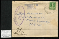 Lot 326 [1 of 5]:RAAF Censor Covers 1941-45 with range of oval Censors incl '208', 237', '408', '675', etc, from RAAF Bairnsdale, Cape York, Geraldton, Larrimah, Laverton, Temora, and Finschafen, some boxed and 'no box frames' with many types of 'Postal Concessional Rate' cachets, straight lines, 2-lines, 1940 'No. 4 INITIAL TRAINING SCHOOL/R.A.A.F. VICTOR HARBOR' handstamp on cover to Perth, etc. Also 1945 'No.11 R.A.A.F. BASE P.O./PACIFIC' (Moratai) on cover to South Aust and 1947 AIR FORCE P.O./4AU/47/MOROTAI' cds on cover to New Zealand. Mixed condition. (39)