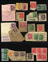 Lot 366 [1 of 3]:Military & RAAF postmarks on pieces mostly from KGVI era, also few overseas types. Mixed condition. (200+)